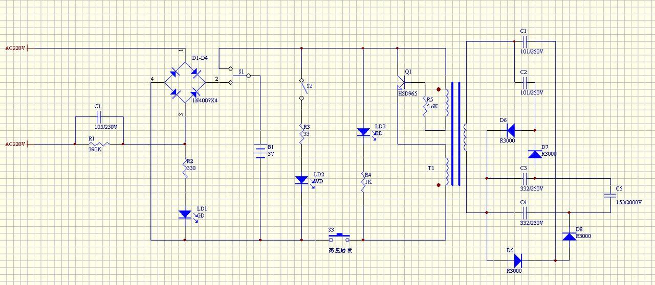 充电式电蚊拍电路图