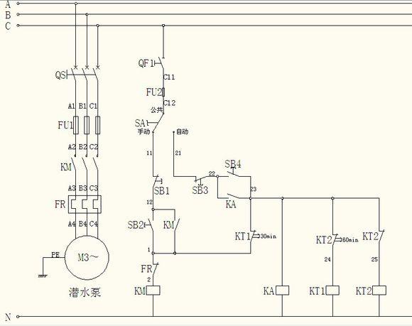 潜水泵的控制电路图
