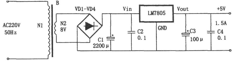 lm7805 5v稳压电源电路图