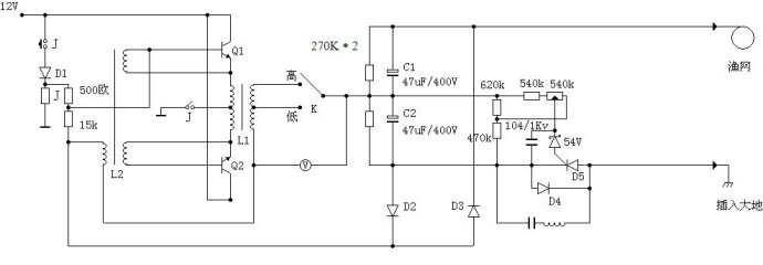 低频电鱼机电路图
